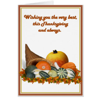 Cornucopia with Fall Gourds Card
