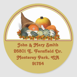 Cornucopia with Fall Gourds Classic Round Sticker