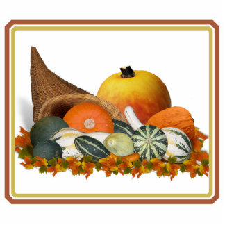 Cornucopia with Fall Gourds Cut Out