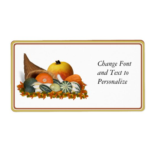 Cornucopia with Fall Gourds Shipping Label