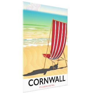 Cornwall beach classic travel poster canvas print