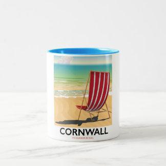 Cornwall beach classic travel poster Two-Tone coffee mug