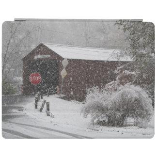 Cornwall covered bridge in blizzard iPad cover