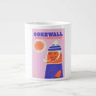 "Cornwall fisherman vintage ""take a coach"" poster large coffee mug"