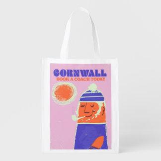 "Cornwall fisherman vintage ""take a coach"" poster reusable grocery bag"