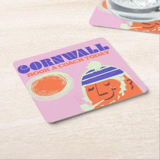 "Cornwall fisherman vintage ""take a coach"" poster square paper coaster"