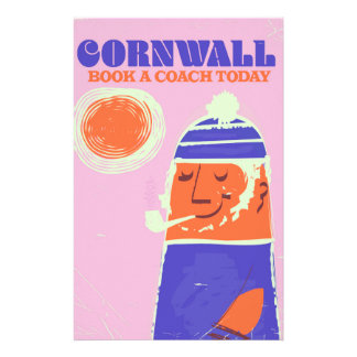 "Cornwall fisherman vintage ""take a coach"" poster stationery"