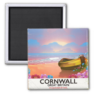 Cornwall fishing boat vintage travel poster magnet