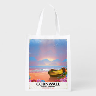 Cornwall fishing boat vintage travel poster reusable grocery bag