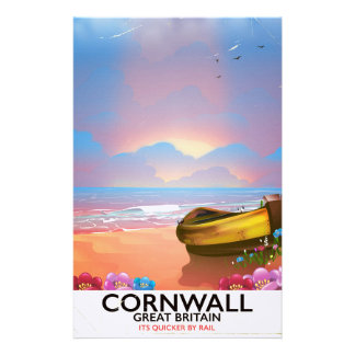 Cornwall fishing boat vintage travel poster stationery
