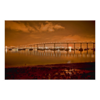Coronado Bay Bridge At Night Poster