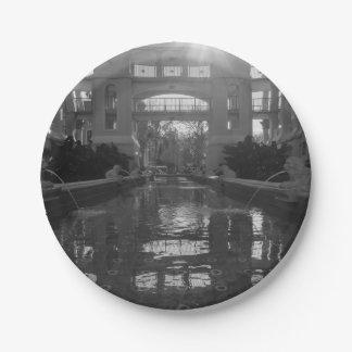 Coronado Sunburst Grayscale Paper Plate