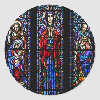 Coronation of Mary Stained Glass Art Classic Round Sticker