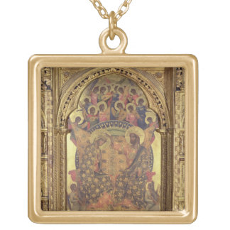 Coronation of the Virgin (detail of the polyptych) Gold Plated Necklace
