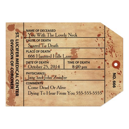 Coroner Toe Tag Halloween Or Birthday Invitation