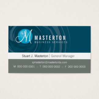 CORPORATE BUSINESS CARD cyclone monogram blue grey