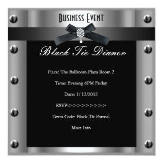 "Corporate Business Formal Black Tie Silver Metal 5.25"" Square Invitation Card"