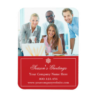 Corporate Business Photo Holiday Christmas Rectangular Photo Magnet