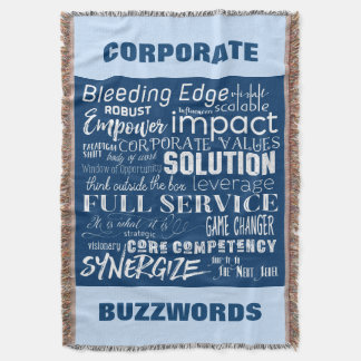 Corporate Buzzwords Business Jargon Typography Art Throw