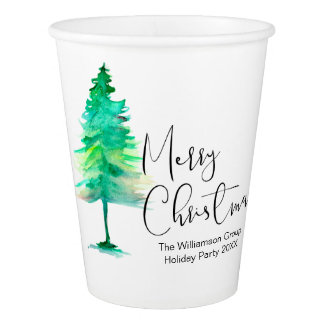 Corporate Christmas Party, Watercolor-pinetree, Paper Cup