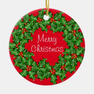 Corporate Christmas Wreath Custom Business Ceramic Ornament