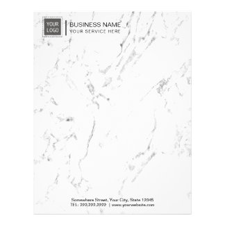 Corporate Custom Logo Modern White Marble Letterhead