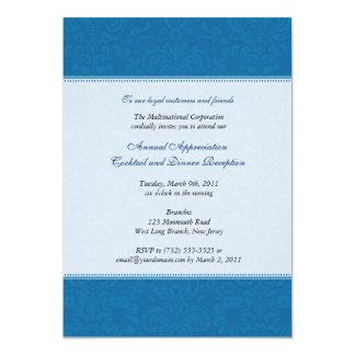 "Corporate Damask Cobalt 5"" X 7"" Invitation Card"