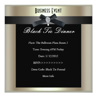 """Corporate Event Formal Black Tie Champagne 5.25"""" Square Invitation Card"""