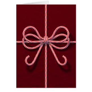 Corporate Folded Holiday Card with Candy Cane Bow
