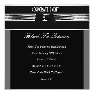 """CORPORATE Formal Black Tie Silver Black 5.25"""" Square Invitation Card"""