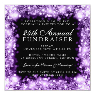 Corporate Fundraiser Gala Party Purple Sparkling Card