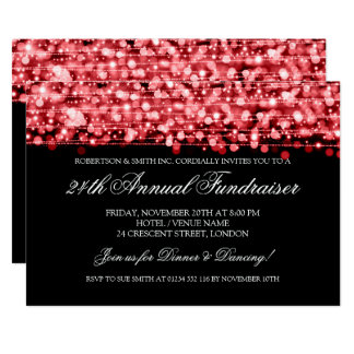 Corporate Fundraiser Gala Party Sparkles Red Card