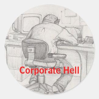 Corporate Hell Round Sticker