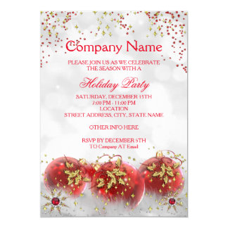 """Corporate Red Gold White Christmas Holiday Party 5"""" X 7"""" Invitation Card"""