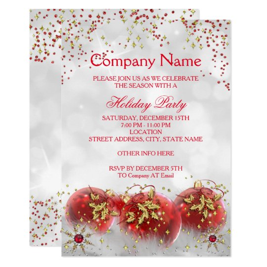corporate red gold white christmas holiday party card. Black Bedroom Furniture Sets. Home Design Ideas