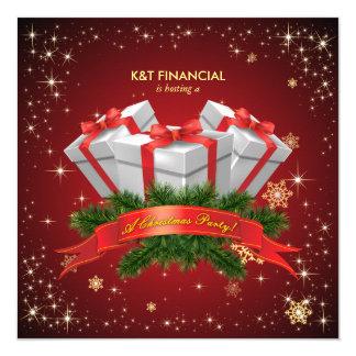 "Corporate Secret Santa Christmas Dinner Party 5.25"" Square Invitation Card"