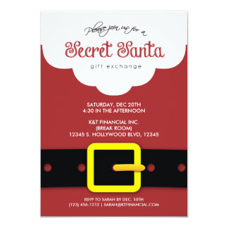 "Corporate Secret Santa Gift Exchange Party 5"" X 7"" Invitation Card"
