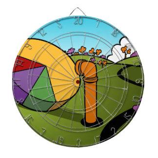 Corporate Spy Cartoon Dartboard With Darts