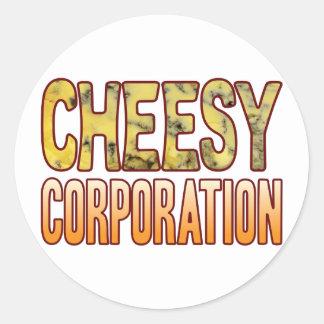 Corporation Blue Cheesy Round Sticker