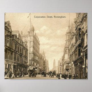 Corporation St., Birmingham, England Vintage Poster