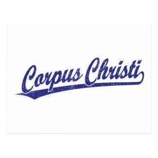 Corpus Christi script logo in blue Postcard