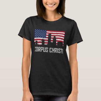 Corpus Christi Texas Skyline American Flag Distres T-Shirt