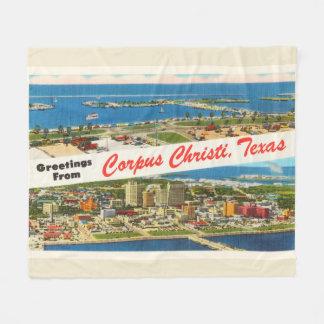 Corpus Christi Texas TX Vintage Travel Souvenir Fleece Blanket