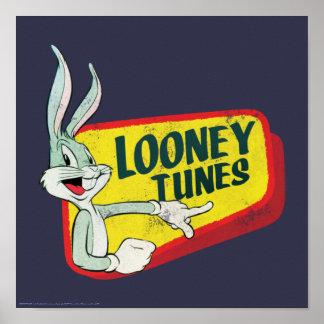 Correction LOONEY du ™ TUNES™ de BUGS BUNNY rétro Poster