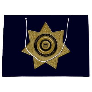 Correctional Officer Badge Gold-Blu-Large Gift Bag