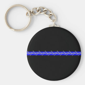 Corrections Barbed Wire Blue Line Keychain