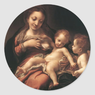Correggio- Virgin and Child with an Angel Classic Round Sticker