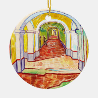 Corridor in Saint-Paul Hospital Vincent van Gogh Round Ceramic Ornament