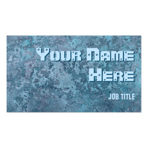 Corrosion blue print business card side text