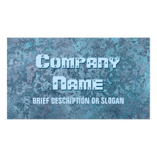 Corrosion blue print 'description' business card templates